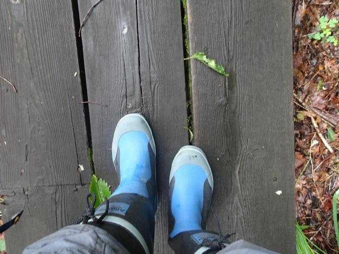 今日は長靴で