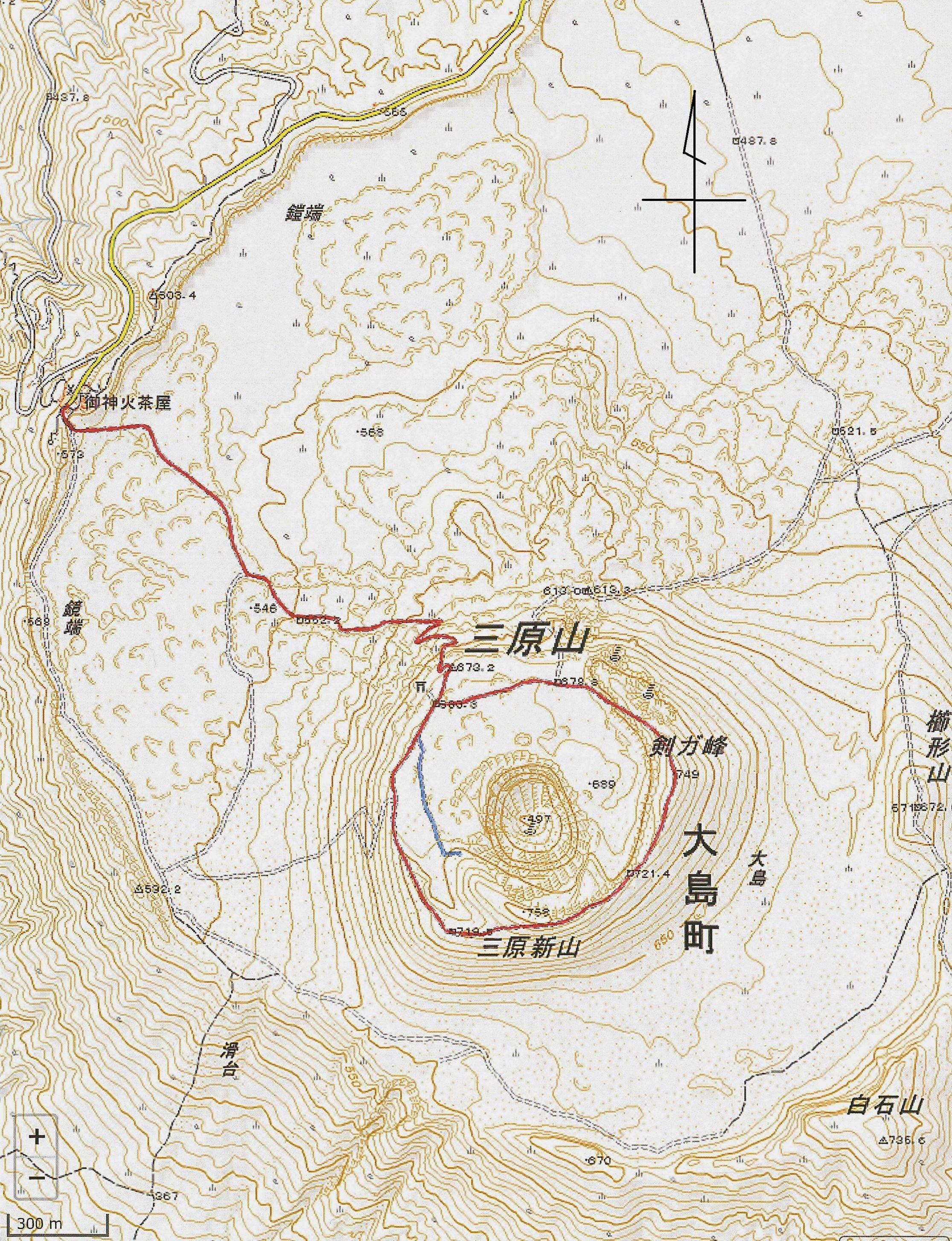000_三原山_地理院地図_赤線がルート_R