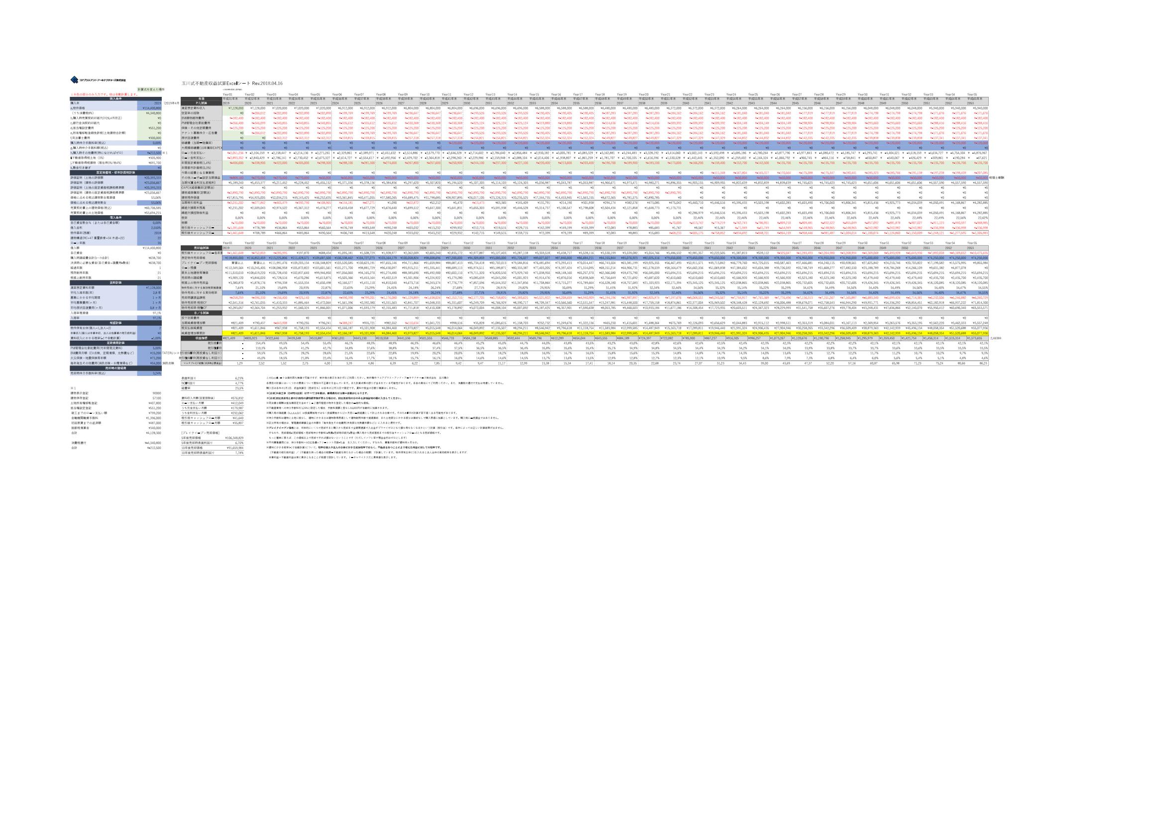 玉川式収益試算シート(保護解除版)TATERU蕨(価格下落・法人)20180616-1