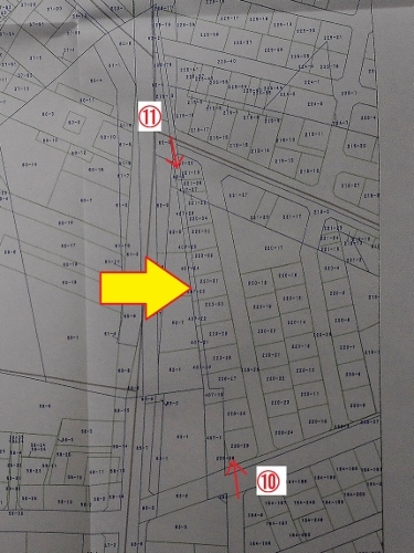 地番図 北野4条3丁目 吉田用水痕跡