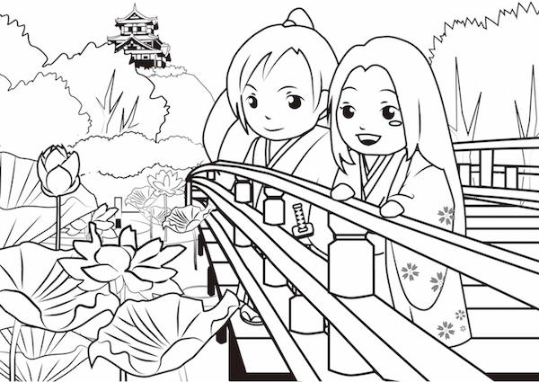塗り絵_蓮と高田城_600px