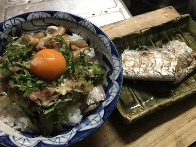 タチウオの漬け丼と塩焼き