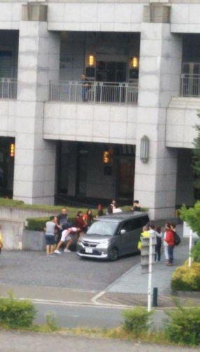 大阪地震1 ホテル前