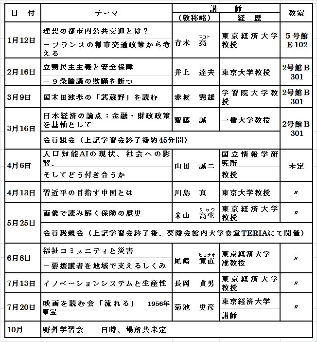 2018年10月会報スケデュール表