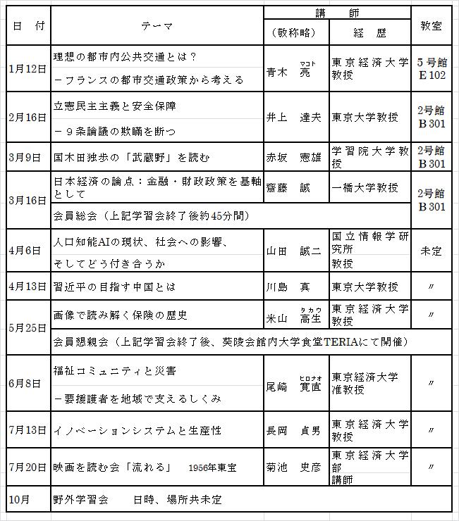 2018年11月会報スケジュール表