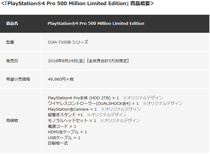 Screenshot_2018-08-09 特別デザインの「PlayStation®4 Pro 500 Million Limited Edition」を8月24日より数量限定で発売 PlayStation Blog
