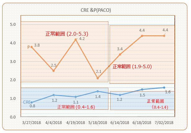 パコ検査結果推移(CreP)#7 201807