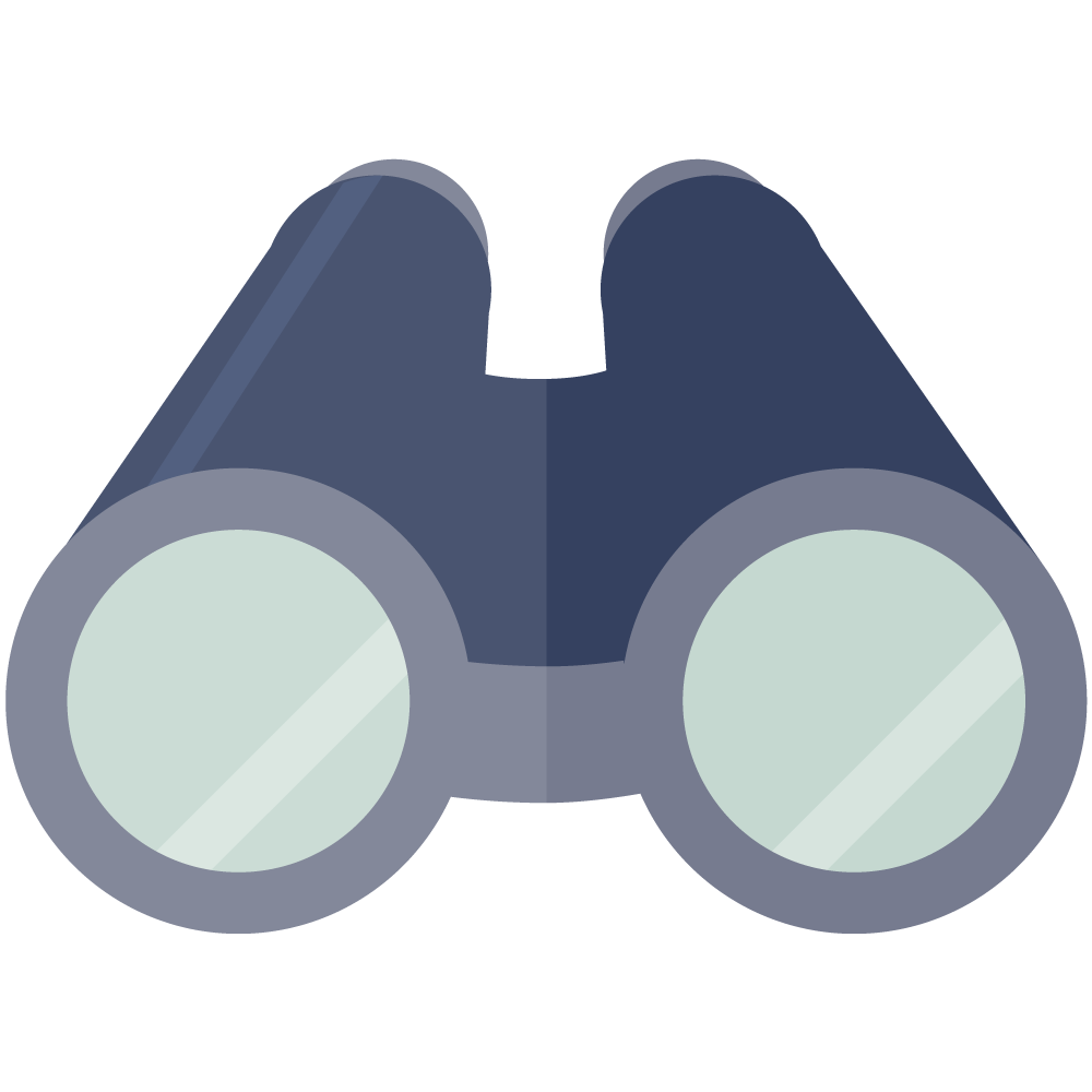 シンプルでかわいいフラットデザインの双眼鏡icon_illust