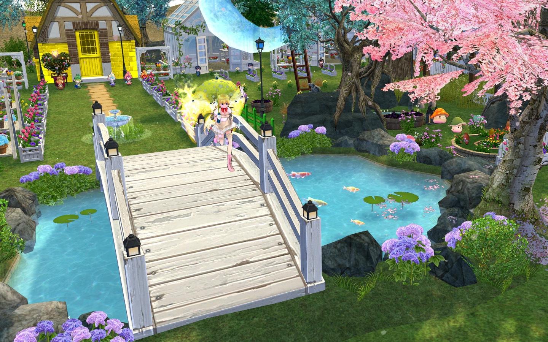 アーデニアの桜の木と池1