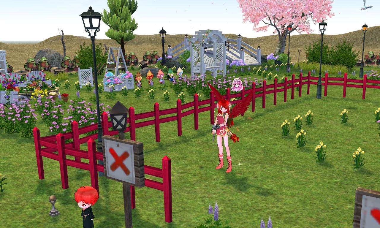 ティオナの桜の木と池1