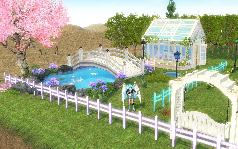 画架座のミクの桜の木と池1