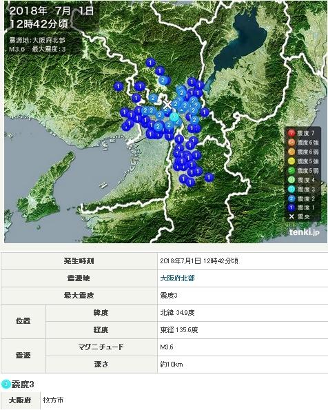 大阪北部7月1日地震