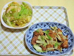 CAI_180611_5175 ちぎりキャベツの中華風ピリ辛胡麻だれ和え・鶏ももとキャベツの照り焼き_VGA
