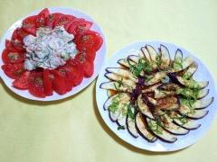 CAI_180614_5178 トマトのカプレーゼとツナサラダ。薄切り茄子の胡麻ポン和え_VGA