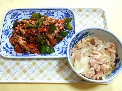 CAI_180618_5182 豚肉とピーマンの甘酢炒め・蒸し鶏と玉葱の中華風胡麻醤油和え_VGA