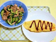 CAI_180621_5185 豚肉と胡瓜の生姜炒め・挽肉とじゃが芋のオムレツ_VGA