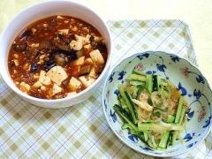 CAI_180628_5192 豆腐と茄子の麻婆煮・胡瓜、ピーマン、玉葱の中華風胡麻だれ和え_VGA