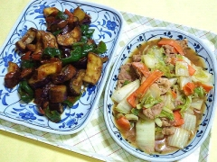 CAI_180705_5198 茄子とピーマンの肉味噌炒め・白菜と豚肉のガーリック炒め_VGA