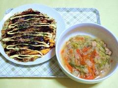 CAI_180709_5200 玉子入りお好み焼き・白菜と鶏肉の和風あんかけ_VGA