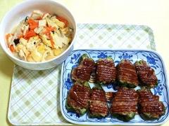 CAI_180712_5204 ミニ高野豆腐と薄揚げのふくめ煮・肉詰めピーマンのデミグラソースがけ_VGA