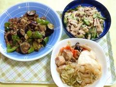 CAI_180716_5214 挽肉と茄子のピリ辛炒め・胡瓜と鶏むね肉の塩昆布和え・鶏もも肉のすき煮_VGA