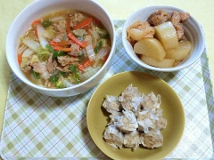CAI_180723_5217 ピリ辛八宝菜・鶏もも肉と大根の照り煮・蒸しシウマイ_VGA
