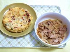 CAI_180726_5220 じゃが芋とパプリカのスパニッシュオムレツ・豚肉と玉葱の甘辛煮_VGA