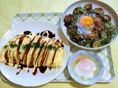 CAI_180802_5227 とんぺい焼き・茄子と豚肉の甘辛丼・温泉玉子_VGA