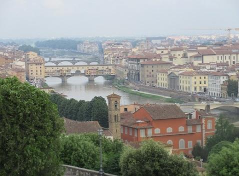 6 ミケランジェロ広場からフィレンツェの景色 ベッキオ橋方面