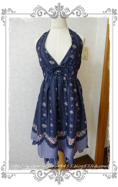 0622フルーツプリントワンピース(紺)