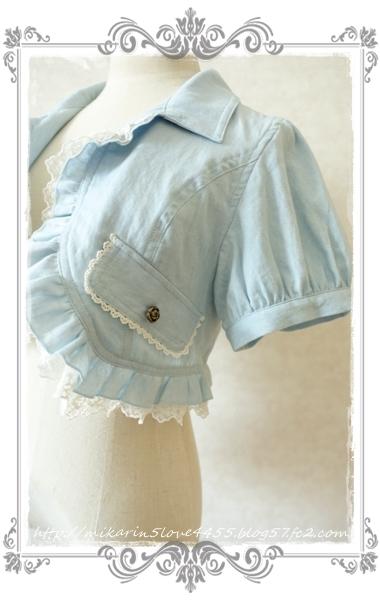0714フリルシャツ風ボレロ(ブリーチ)袖