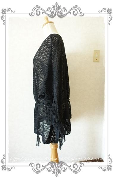 0714裾フリンジニットポンチョ(黒)横