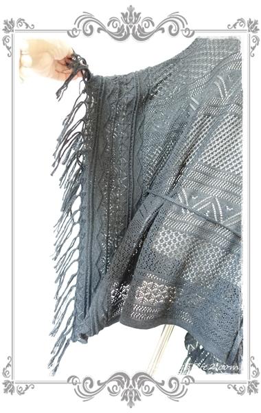 0714裾フリンジニットポンチョ(黒)裾