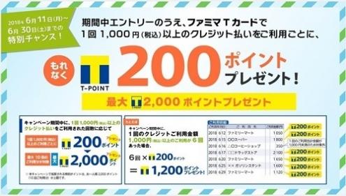 ファミマTカード|1,000円以上利用でTポイント200ptプレゼント