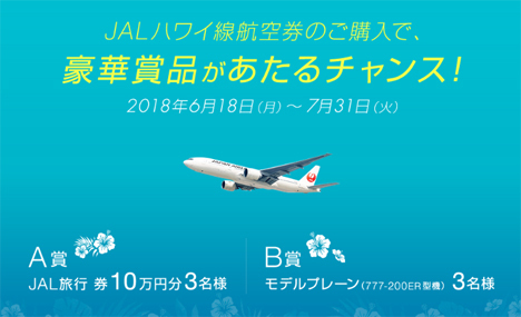 JALは、JAL旅行券10万円分などがプレゼントされる「JAL HAWAIIキャンペーン」を開催!