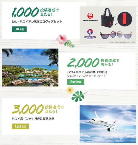 JALは、成田~コナ線就航1周年で、往復航空券などがプレゼントされる、SNSキャンペーンを開催。