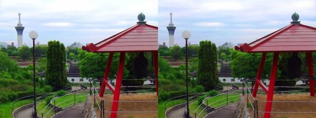花博記念公園鶴見緑地 国際庭園 国連 世界平和の鐘(交差法)