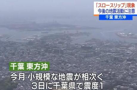 千葉県の東方沖で、地下のプレートの境界がゆっくりとずれ動く「スロースリップ」と呼ばれる現象 … 地震調査委員会「念のため今後の地震活動に注意」