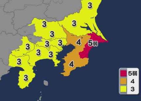 7日20時23分頃、千葉県で震度5弱の地震、津波の心配無し … 震源地は千葉県東方沖、震源の深さは50kmでM6.0