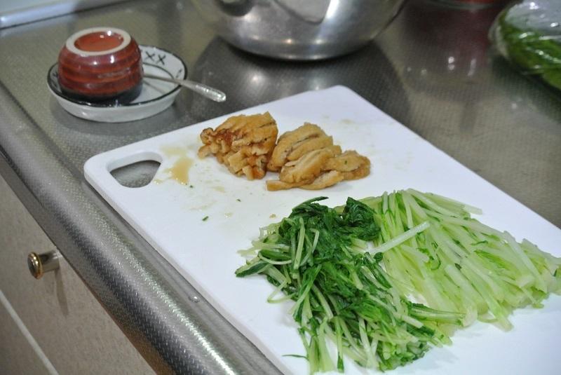 水菜と油揚げのわさび和え1