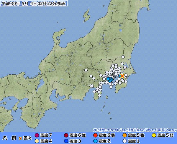 【ドスン】関東地方で連続で地震が発生…最大震度は2 M4.1 震源地は千葉県北西部