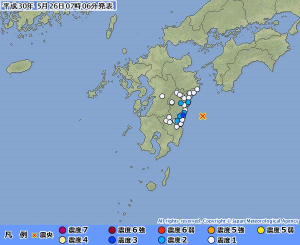 「日向灘」でM4.2の地震発生 宮崎県で最大震度3 深さ約20km