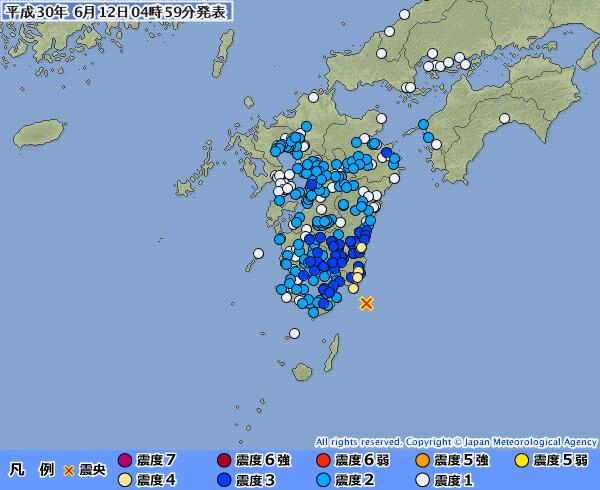 九州で最大震度4の地震発生 M5.5 震源地は大隅半島東方沖 深さ約30km