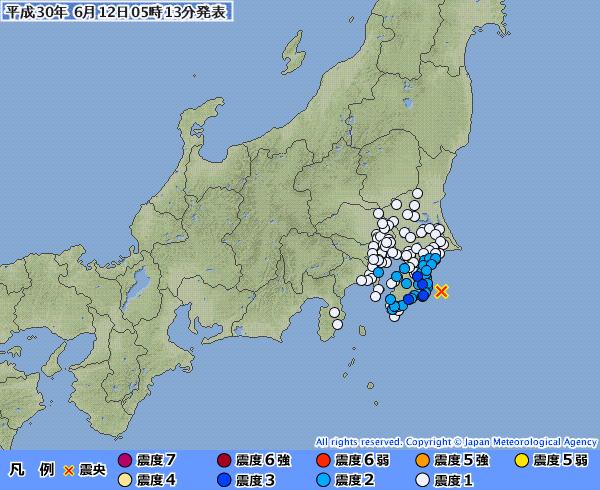 関東地方で最大震度3の地震発生 M4.9 震源地は千葉県東方沖 深さ約20km