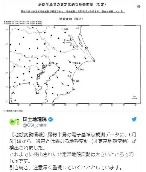 【大地震】国土地理院「房総半島沖の電子基準点観測データで『通常と異なる地殻変動』を検出」…現在もこの「非定常地殻変動」は継続している