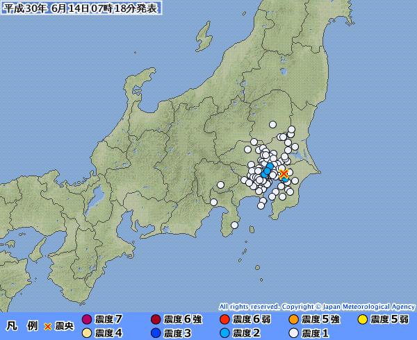 【関東】東京、千葉、埼玉などで最大震度2の地震発生 M3.8 震源地は千葉県北西部 深さ約70km