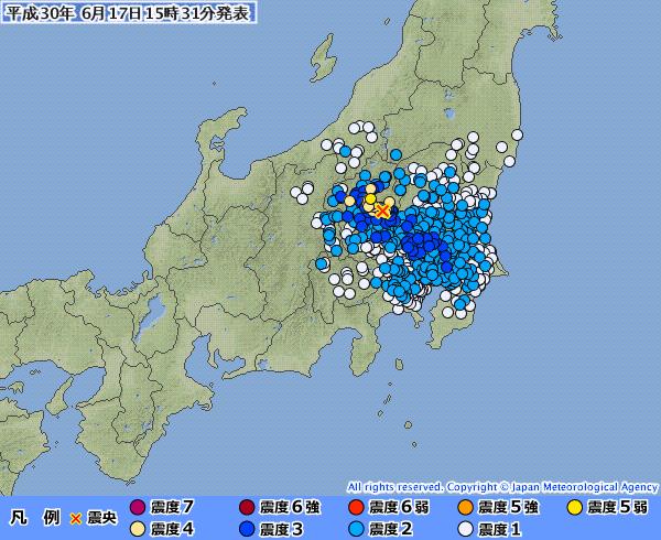 関東地方で最大「震度5弱」の地震発生 M4.7 震源地は群馬県南部 深さ約20km