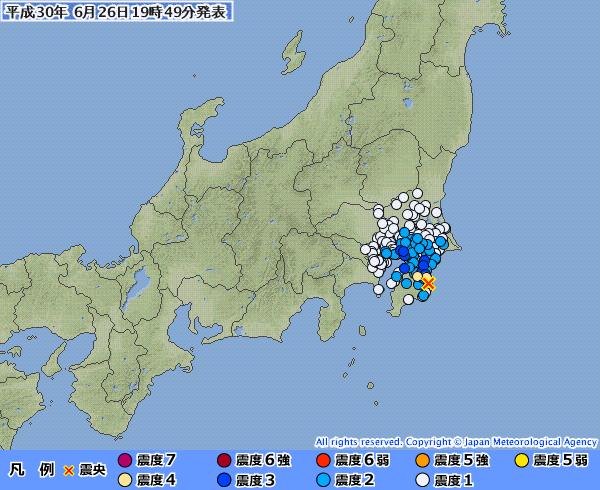 千葉県で最大震度4の地震発生 M4.4 震源地は千葉県南部 深さ約30km