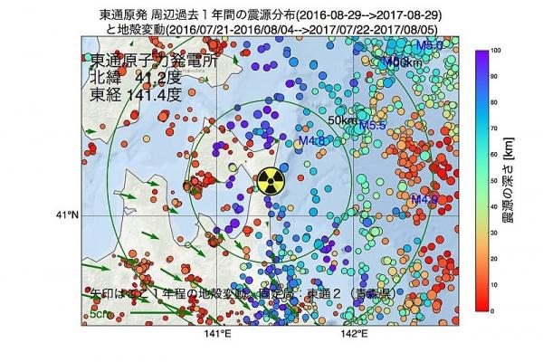800px-東通原子力発電所周辺の過去1年間の地震の震源分布と地殻変動