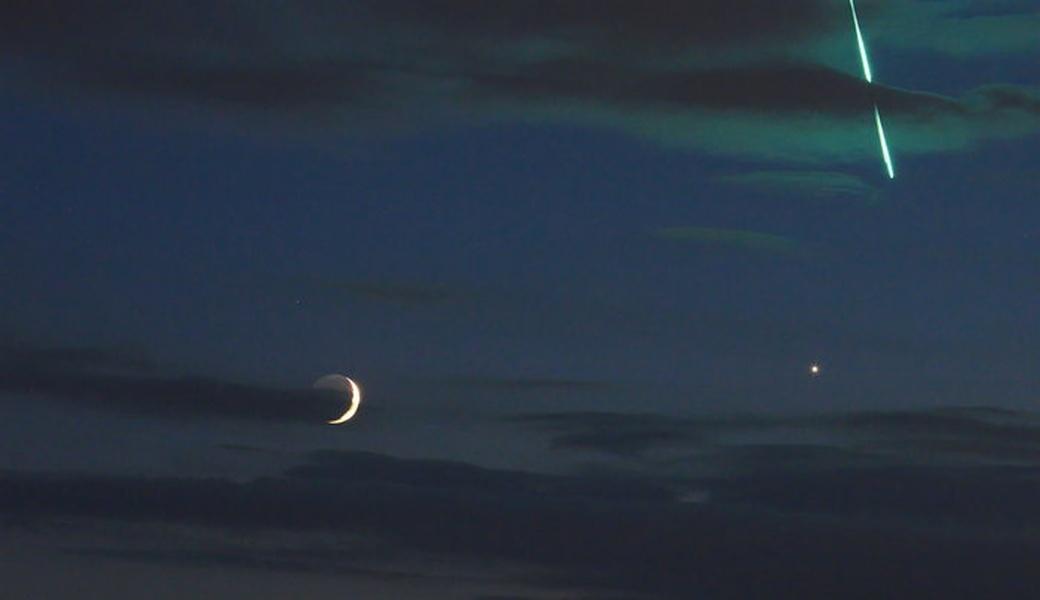 【宇宙】月と金星と「緑の火球」…不思議な流星をカメラが捉えた